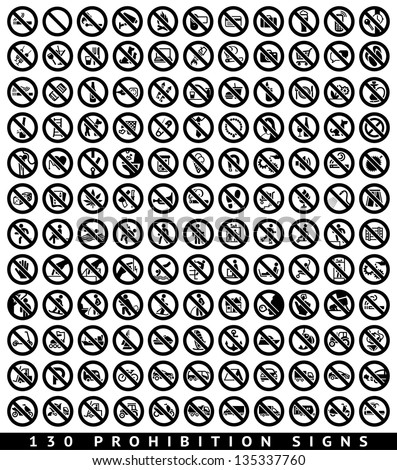 130 Prohibition black signs set, vector illustration - stock vector