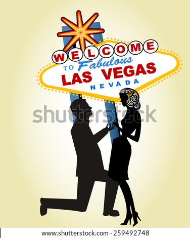 Proposal at Famous Las Vegas Sign - Man and ring separate elements, Woman Separate for other uses  - stock vector