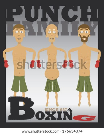 """""""PUNCH"""" Family Portrait - Three generations of fighters lined up.  Typography stylized """"Boxing"""" text below the art. EPS 10 Vector - stock vector"""