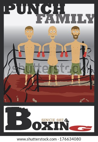 """""""PUNCH"""" Family Portrait - Three generations of fighters on top of a destroyed ring posing and smiling. With typography stylized """"Boxing"""" text below the art. EPS 10 Vector - stock vector"""