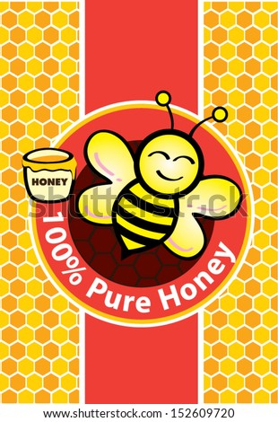 Pure Honey and Bee - stock vector