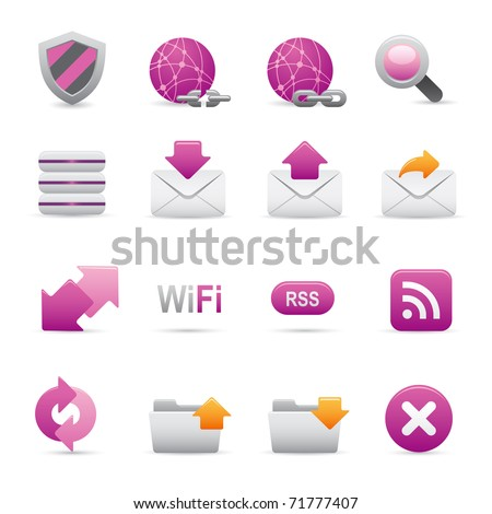 07 Purple Internet Icons Professional vector set for your website, application, or presentation. The graphics can easily be edited color individually and be scaled to any size
