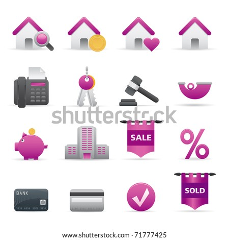 12 Purple Real State Icons Professional vector set for your website, application, or presentation. The graphics can easily be edited color individually and be scaled to any size - stock vector