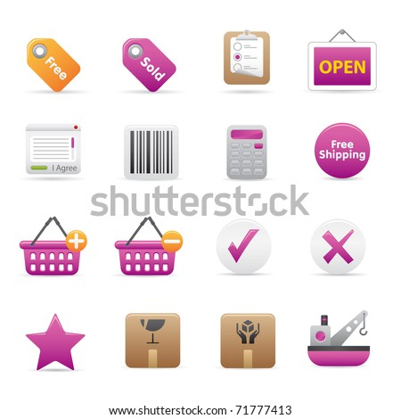 14 Purple Shopping Icons Professional vector set for your website, application, or presentation. The graphics can easily be edited color individually and be scaled to any size - stock vector