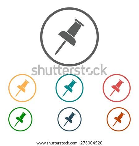 Push pin icon. Vector EPS 10.  - stock vector