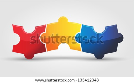 3 puzzle 1 - stock vector