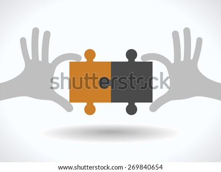 Puzzle in human hands. Teamwork concept. - stock vector