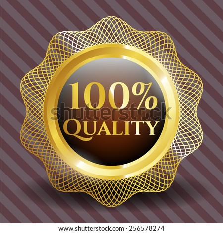 100% Quality gold emblem. Complex linar gold design. - stock vector