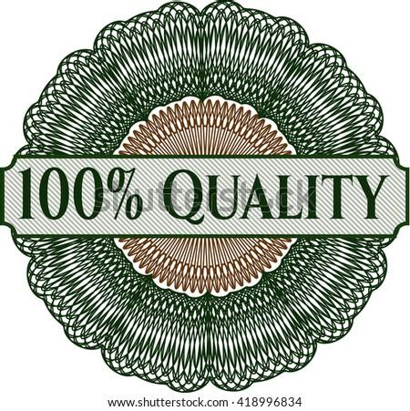 100% Quality written inside rosette - stock vector