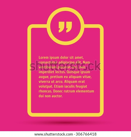 Quote modern template on background. - stock vector