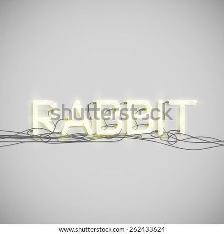 'RABBIT' made by neon font, vector - stock vector