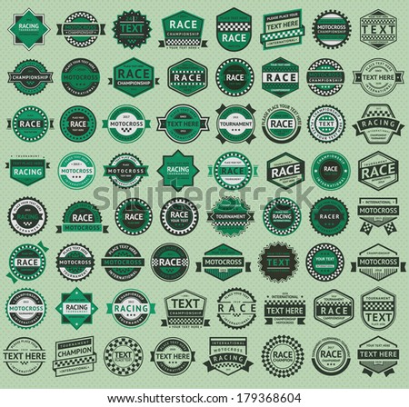 64 Racing badges - vintage style, big green set - stock vector