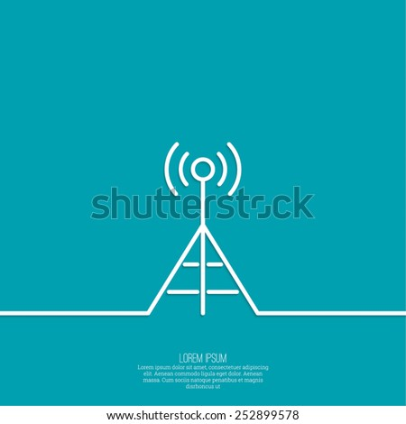 Radio antenna transmits a signal. On air. Tower mobile communications, transmission and reception. Outline. minimal. - stock vector