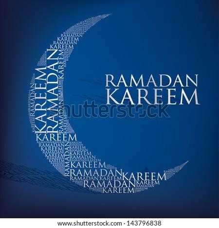 """""""Ramadan Kareem"""" (Generous Ramadan) moon card in vector format. - stock vector"""