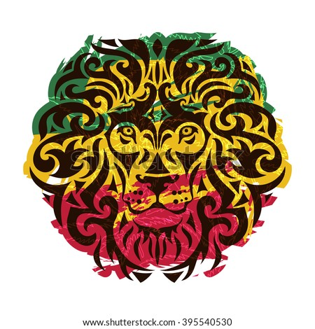 Rasta theme with lion head on a white background. Vector illustration. - stock vector