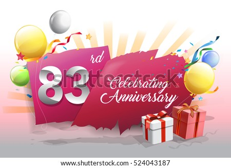 83rd anniversary celebration with colorful confetti and balloon on red background with shiny elements. design template for your birthday party.