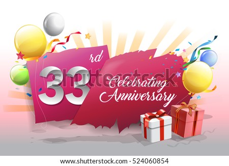 33rd anniversary celebration with colorful confetti and balloon on red background with shiny elements. design template for your birthday party.