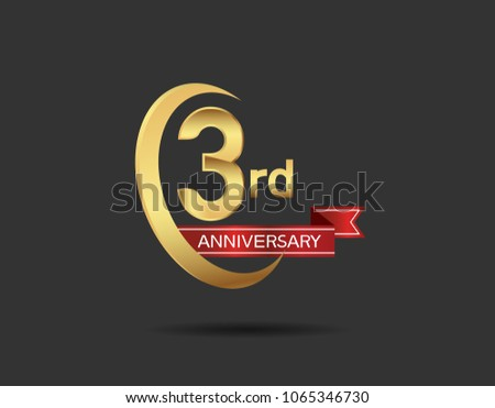 3rd anniversary design logotype golden color stock photo photo