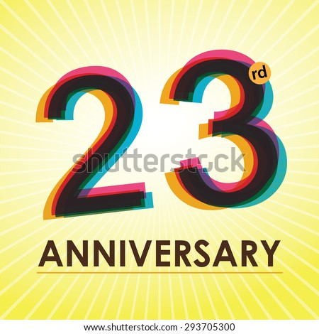 23rd Anniversary poster / template design in retro style - Vector Background - stock vector