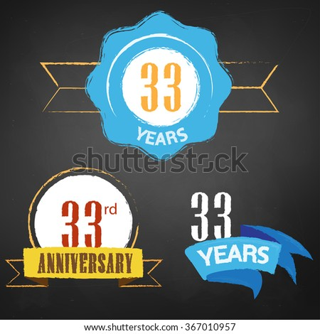 33rd Anniversary/ 33 years colorful chalk emblem vector with 3 different options