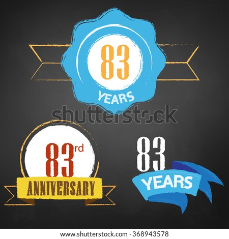 83rd Anniversary/ 83 years colorful chalk emblem vector with 3 different options