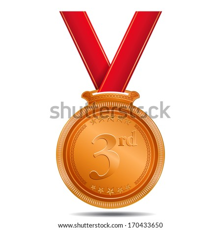 3rd Position Bronze Madel - stock vector