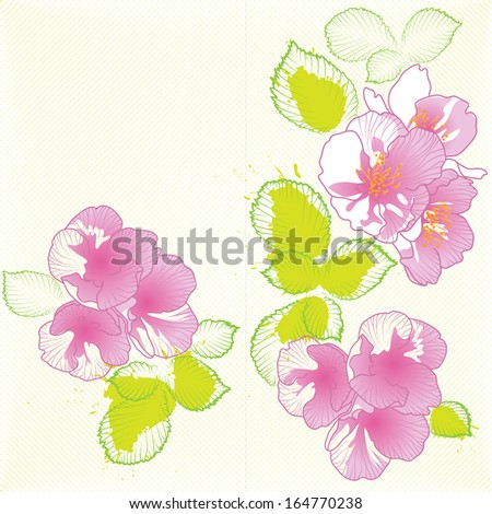 ready vector template of spring greeting card - stock vector