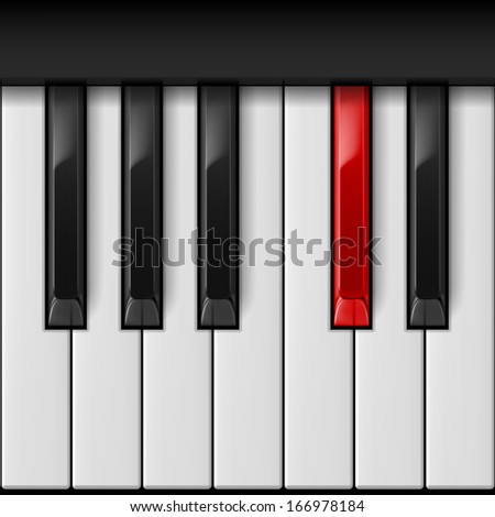 Realistic piano keys with especial red one.   - stock vector