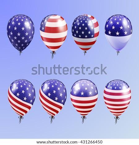 Realistic Set Balloons American Patriotic Symbols Stock Vector 2018