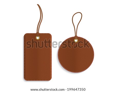 Rectangle and circle leather tags on white background
