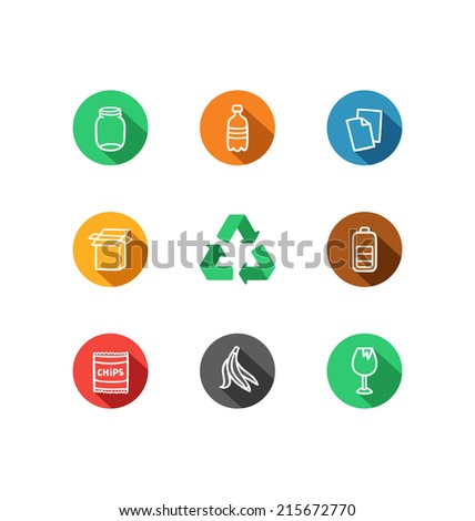 9 recycling materials icons collection - stock vector