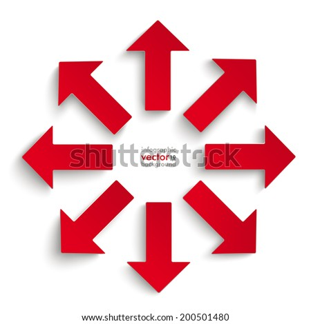 8 red arrows on the grey background. Eps 10 vector file. - stock vector