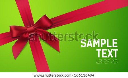 red bow on Green background - stock vector