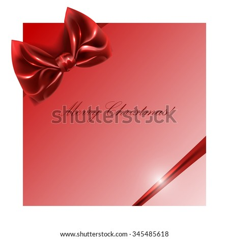 red box with bow and ribbon on a white background, - stock vector
