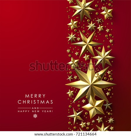 Red Christmas Background Decorated with Cutout Gold Stars. Chic Christmas Greeting Card.