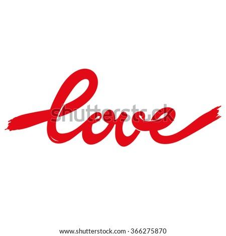 red inscription lettering love - stock vector