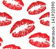 red kiss print pattern - stock vector