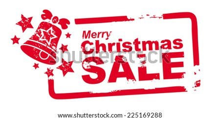 "red ""merry christmas sale"" stamp - stock vector"