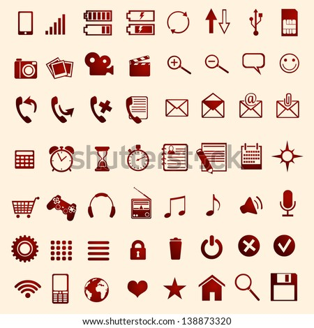 56 red mobile icons - stock vector