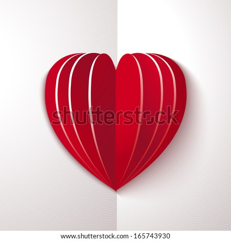 Red paper heart on white ornate background - stock vector