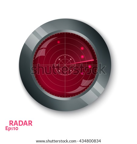 Red radar screen.  Internet button on white background. EPS10 vector. - stock vector