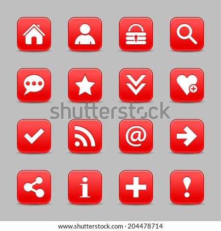 16 red satin icon with white basic sign on rounded square web button with black shadow on gray background. Vector illustration internet design element save in 8 eps - stock vector