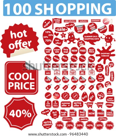 100 red shopping sales icons, stickers, labels tags, set, vector - stock vector