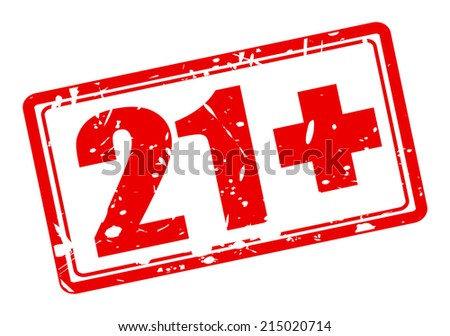 21+ red stamp text on white - stock vector