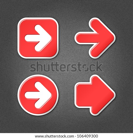 4 red sticker arrow sign web icon. Smooth internet button with drop shadow on gray background with noise effect. This vector illustration clip-art design element saved in 10 eps - stock vector