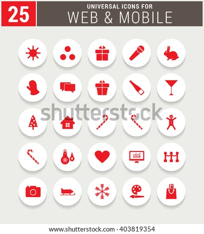 25 Red Universal icon set. simple pictogram minimal, flat, solid, mono, monochrome, plain, contemporary style. Vector illustration web internet design elements