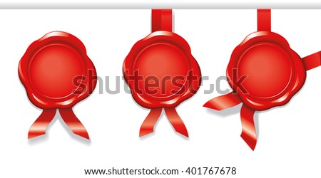 3 red wax seals with ribbons