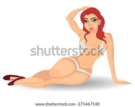Redhead girl in bikini - stock vector