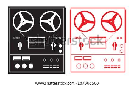 2 reel tape recorders - stock vector