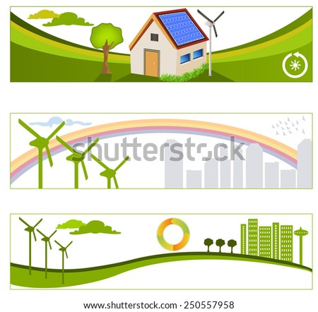 renewable green energy backgrounds - stock vector